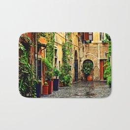 Vintage street in Rome, after Rain Bath Mat