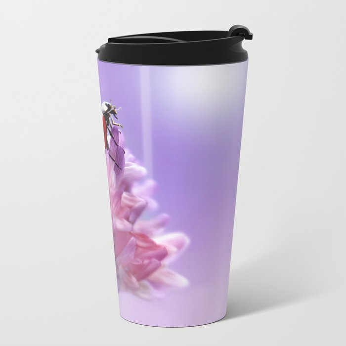 Ladybug  purple background 58 Metal Travel Mug