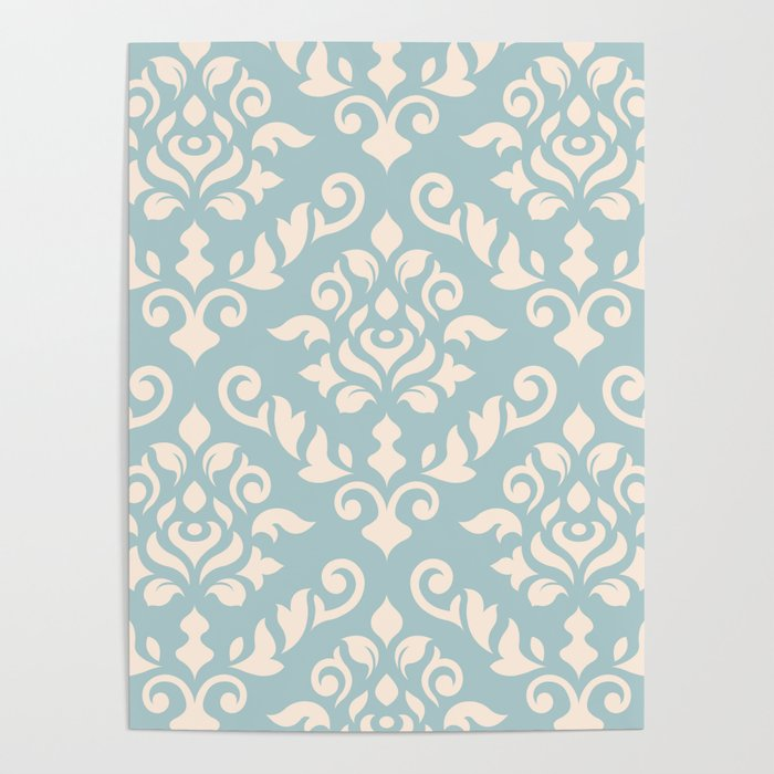 Damask Baroque Pattern Cream on Blue Poster