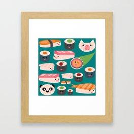 Kawaii sushi teal Framed Art Print