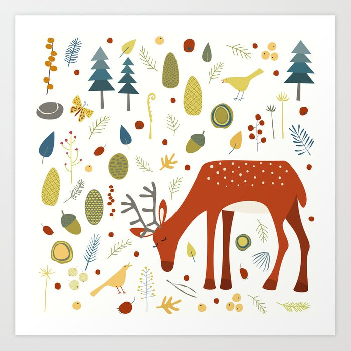 Deer and Forest Things Art Print