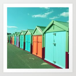 Colourful Beach Huts Art Print