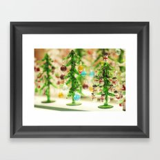 Snowmen Christmas trees Framed Art Print