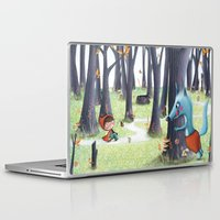 red hood Laptop & iPad Skins featuring Red Riding Hood by Antoana Oreski Illustration