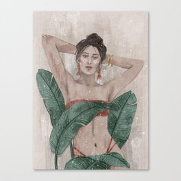 Strelitzia - Bikini Girl with Leafs Canvas Print