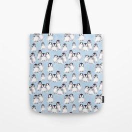 Penguin pattern on blue Tote Bag