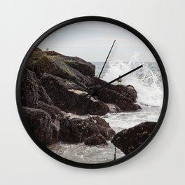Seagulls and Breaking Waves on Rockaway Beach Wall Clock