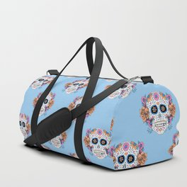 Sugar Skull in Blue and Coral Duffle Bag