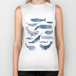 Whales, whale art, whale painting, whale wall art, watercolour whales, ocean Biker Tank