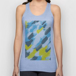 blue grey and yellow painting abstract background Unisex Tank Top