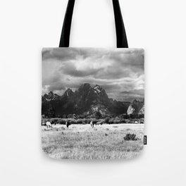 Horse and Grand Teton (Black and White) Tote Bag