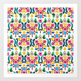 Colorful oriental watercolor floral pattern. Art Print