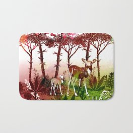Deer Forest Watercolor Design Bath Mat
