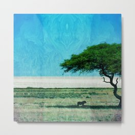 sahara lion and tree mint green aesthetic wildlife art altered photography Metal Print