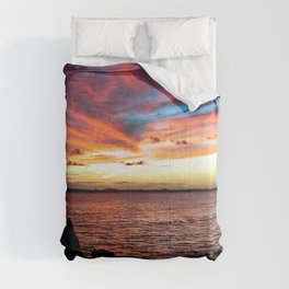 Sea Seascape Tropical Sunset Red Clouds Comforters