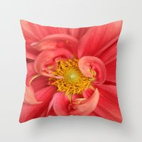 dahlia Throw Pillows featuring Dahlia by KunstFabrik_StaticMovement Manu Jobst