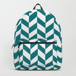 Herringbone Texture (Teal & White) Backpack