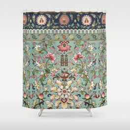 Asian Floral Pattern in Turquoise Blue Antique Illustration Shower Curtain