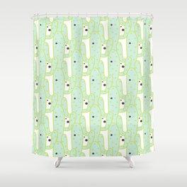 Cute green black hand drawn tropical cactus polka dots Shower Curtain