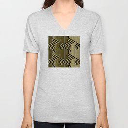 3-D Art Deco Gold Architectural Style Pattern Unisex V-Neck