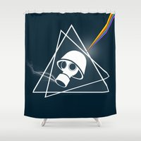 floyd Shower Curtains featuring pink Floyd  by mark ashkenazi