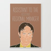 dwight schrute Canvas Prints featuring Dwight Schrute by The Two Pens