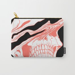 Liquify Skull in black and living coral Carry-All Pouch