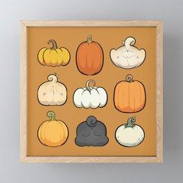 Pumpkins and Pug Butts Framed Mini Art Print
