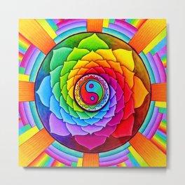 Healing Lotus Rainbow Yin Yang Mandala Metal Print