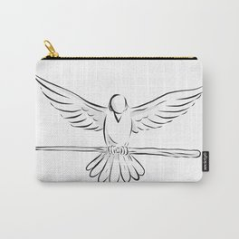 Soaring Dove Clutching Staff Front Drawing Carry-All Pouch