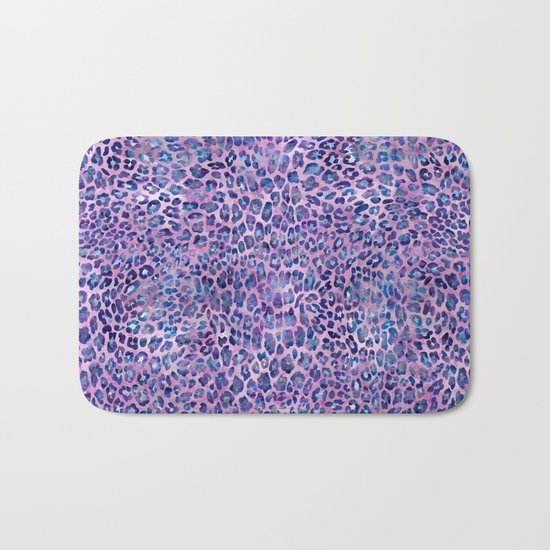 Purple Leopard Print Bath Mat