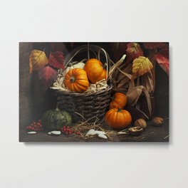 Autumn composition ( pumpkins and corn on old wooden table). Metal Print