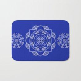Mandala 01 - White on Royal Blue Bath Mat