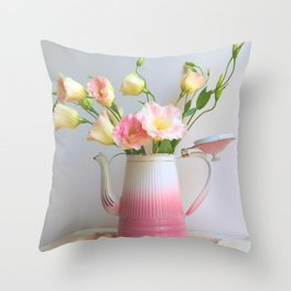 Coffee, Tea or Flowers Throw Pillow