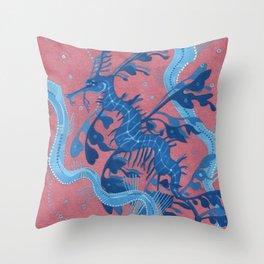 Leafy Sea Dragon Seahorse Throw Pillow