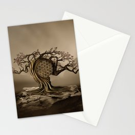 Flower of Life Tree Golden Morning Stationery Cards