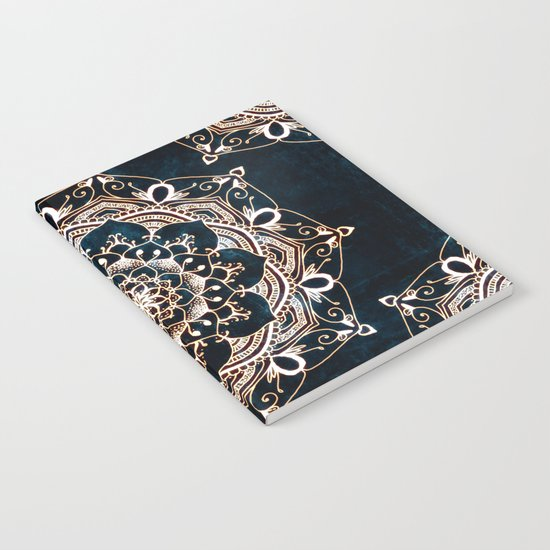 Glowing Spirit Mandala Blue White Notebook