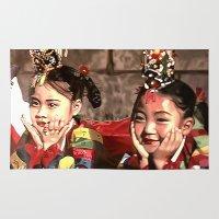 korean Area & Throw Rugs featuring Korean Dancing Girls by Robert S. Lee Art