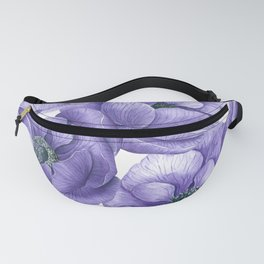 Violet anemone flowers watercolor pattern Fanny Pack