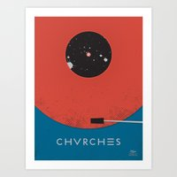 chvrches Art Prints featuring Chvrches - Record by Derek Brown