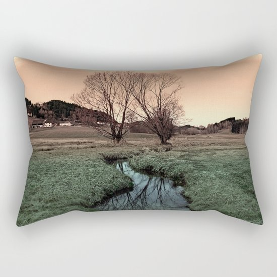 A stream, dry grass, reflections and trees II | waterscape photography Rectangular Pillow