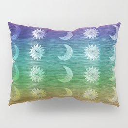 Rainbow Sun and Moon Celestial Hippie Pattern Pillow Sham