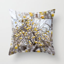 apples sag on tree in snow Throw Pillow