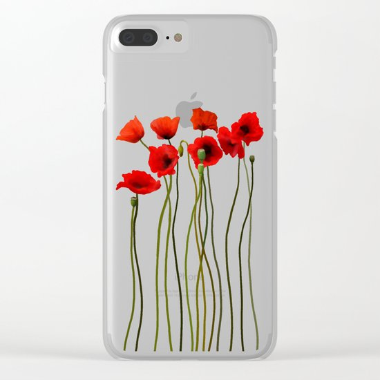 Watercolor Poppies Clear iPhone Case