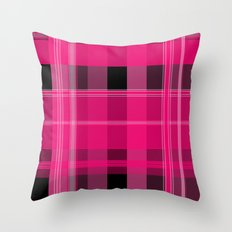 Shades of Pink and Black Plaid Throw Pillow