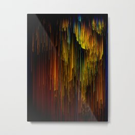 Rainbow Rain Glitches - Abstract Pixel Art Metal Print