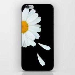Love Me - Love Me Not - White Daisy on Black Background #decor #society6 #buyart iPhone Skin