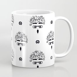 curly-headed boy (stupefied) seamless repeat pattern in next-level black and white Coffee Mug