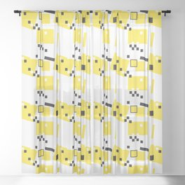Abstract Yellow Taxi Cab Sheer Curtain