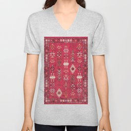 N227 - Pink Heritage Oriental Eclectic Traditional Moroccan Style Unisex V-Neck